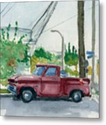 Old Chevy On Wallnut Metal Print