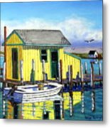 Old Crab Yellow Shacks Of Tangier Island Metal Print