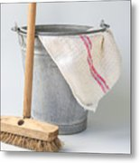 Old Fashioned Housekeeping With Zinc Bucket Metal Print