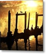 Old Pier At Sunset Metal Print