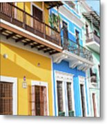 Old San Juan Houses In Historic Street In Puerto Rico Metal Print