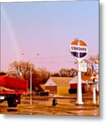 Old Signs At The Mother Road - Standard Oil And Motel - Route 66 Metal Print