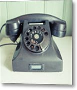 Old Telephone Square Metal Print