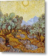 Olive Trees With Yellow Sky And Sun Metal Print
