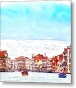 On A Boat Trip On The Grand Canal In The Beautiful City Of Venice In Italy Metal Print