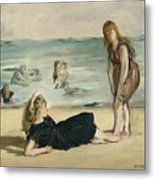 On The Beach Metal Print by Edouard Manet