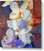 Orchids Behind Glass Metal Print