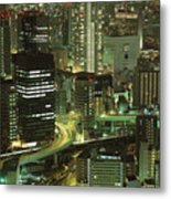 Osaka At Night Metal Print