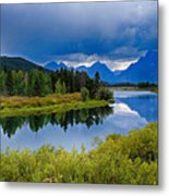 Oxbow Bend Storm Clouds Metal Print