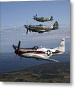 P-51 Cavalier Mustang With Supermarine Metal Print
