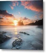 Pacific Sunset At Olympic National Park Metal Print