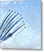 Painting Of Red Arrows Aerobatic Team Metal Print