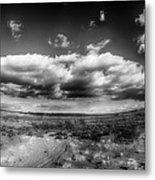 Panorama Of A Valley In Utah Desert With Blue Sky Metal Print