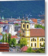 Panoramic Aerial View Of Innsbruck And Hafelekarspitze Mountain Metal Print