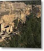 Panoramic View Of Cliff Palace Cliff Metal Print
