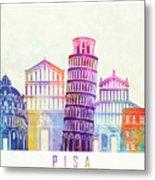 Barcelona Landmarks Watercolor Poster Metal Print