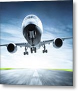Passenger Airplane Taking Off On Runway Metal Print