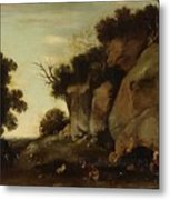 Pastoral Scene At The Cave Metal Print