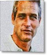 Paul Newman, Vintage Hollywood Actor Metal Print