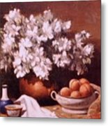 Peaches And Flowers Metal Print