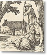 Peasant Couple With Cow Metal Print
