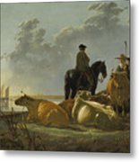 Peasants And Cattle By The River Merwede Metal Print