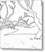Pen Landscape Metal Print