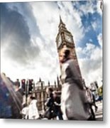 People Crossing In Central London Metal Print