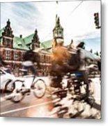 People Cycling In Copenhagen Metal Print