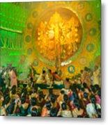 People Enjoying Inside Durga Puja Pandal Durga Puja Festival Metal Print
