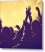 People With Hands Up In Night Club Metal Print