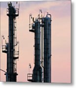 Petrochemical Plant Industry Zone Twilight Metal Print