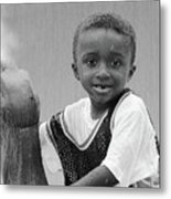 Philly Fountain Kid Metal Print