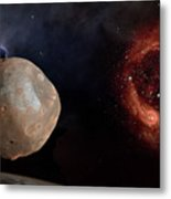 Phobos In The Space Over Mars Metal Print
