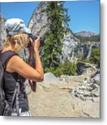 Photographer In Yosemite Waterfalls Metal Print