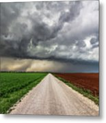 Pick A Side - Colorful Fields Divided By Road On Stormy Day In Oklahoma. Metal Print