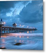 Pier In Blue Metal Print by Gary Zuercher