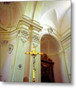 Pink Cathedral With Gold Cross Metal Print