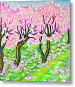 Pink Cherry Garden In Blossom Metal Print