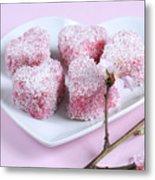 Pink Heart Shape Small Lamington Cakes Metal Print