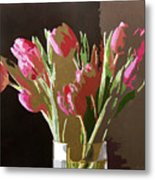 Pink Tulips In Glass Metal Print