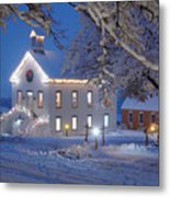 Pioneer Church At Christmas Time Metal Print by Utah Images