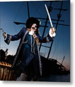 Pirate With A Treasure Chest Metal Print