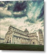 Pisa Cathedral With The Leaning Tower Of Pisa, Tuscany, Italy. Vintage Metal Print