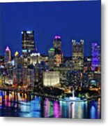 Pittsburgh Night Skyline Metal Print