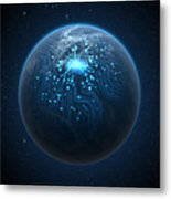 Planet With Illuminated Network Metal Print