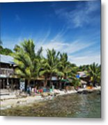 Polluted Dirty Beach With Garbage Rubbish In Koh Rong Island Cam Metal Print