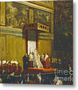 Pope Pius Vii In The Sistine Chapel Metal Print