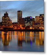 Portland Oregon At Dusk. Metal Print by Gino Rigucci