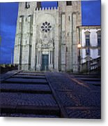 Porto Cathedral By Night In Portugal Metal Print